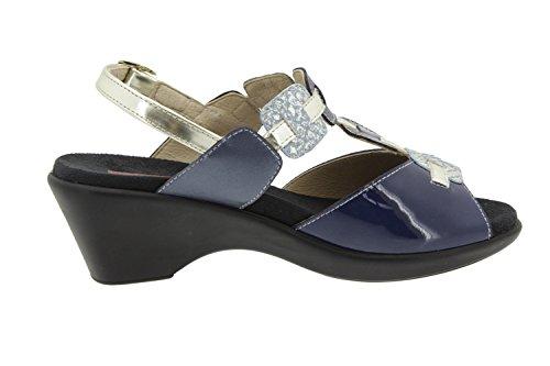 Scarpe donna comfort pelle Piesanto 6853 sandali soletta estraibile comfort larghezza speciale Marino