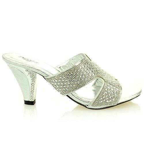 Femmes dames soir mariage de mariée party moyen talon enfiler à bout ouvert diamante sandale chaussures taille (Or, Argent) Argent