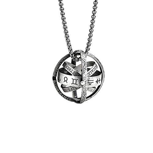 Panicy 925 Sterling Silber Astronomische Kugel Kugel Ring Anhänger Halskette, Cosmic Fingerring Halskette Dual-Use-Paare Liebhaber Ringe Halskette für Männer Frauen Geschenk Dual-kugel