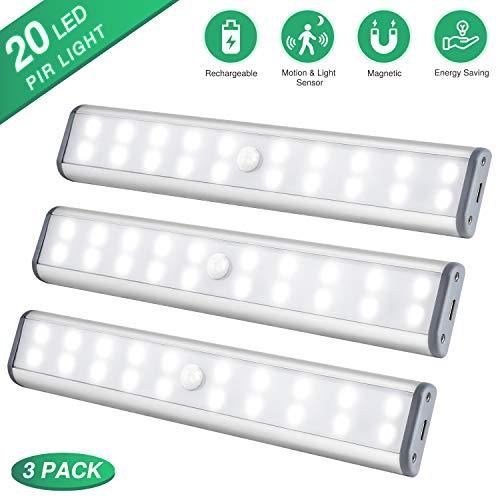 LED Sensor Licht, Schrankleuchten 20 LEDs, Kabellose Wiederaufladbare Kabinenbeleuchtung, Magnetische Lampen kleiderschrank, LED Kabinett Nachtlicht für Schranktisch, Kleiderschrank, Treppe usw(Weiß)