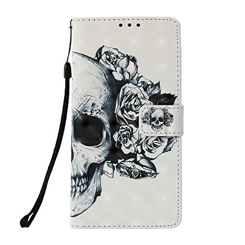 Prechkle Phcases Handyhülle für Xiaomi Mi 8 Hülle Brieftasche Klapphülle mit Standfunktion Kartenfach und Magnetverschluss 3D Effekt Design Tasche aus PU Leder Silikon Schutzhülle Katzen-Totenkopf.