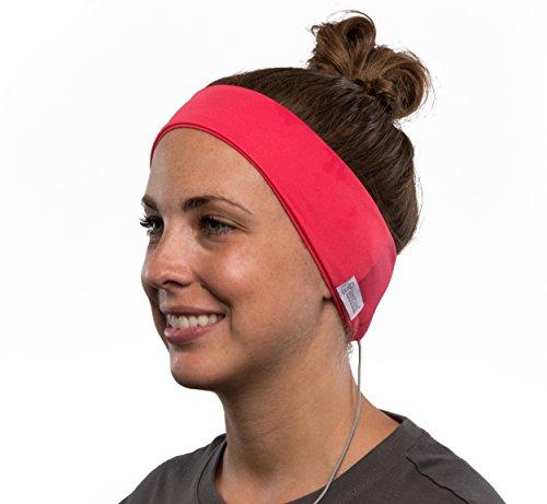 AcousticSheep weiches, dünnes SleepPhones Classic Breeze Polyester-Stirnband mit integriertem Kopfhörer für Smartphone und Tablet (Größe: XL) rosa