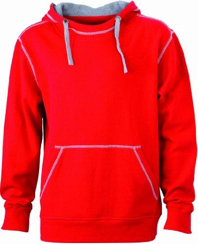 James & Nicholson Herren Sweatshirt Kapuzensweatshirt Men's Lifestyle Hoody red/grey-heather