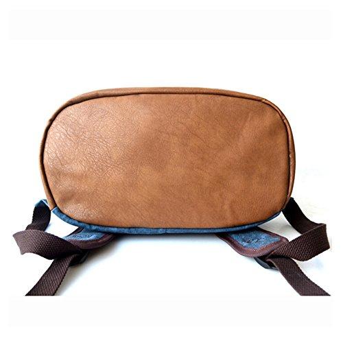 BYD - Blue Male Female zainetto backpack Bag School Bag Travel Bag PU Leather Bottom Blu