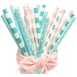 BOFA colorido rayas papel pajitas 19,7cm (100unidades)