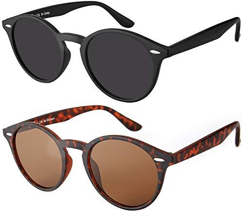 Original La Optica UV400 Unisex Retro Sonnenbrille Rund - Farben, Einzel-/Doppelpacks, Verspiegelt (Doppelpack Matt (1 x Grau, 1 x Braun))