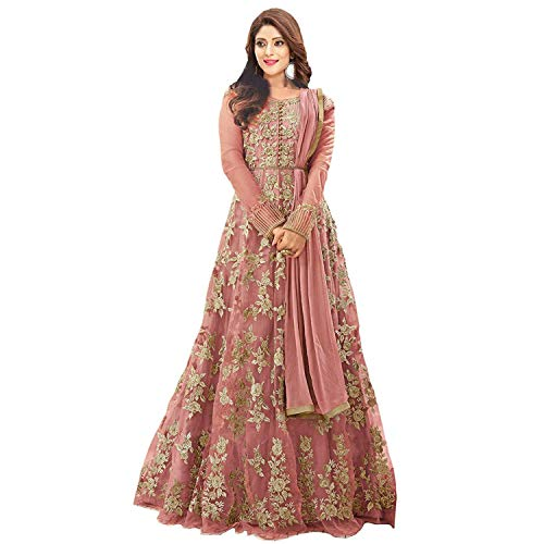 Karma fashion Peach Net Heavy Suits for Women for Party Wedding Wear Floor Length Gown/Anarkali Suit/Salwar Suit