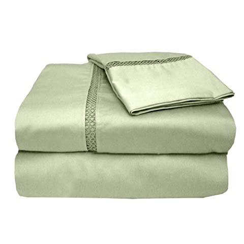 Veratex The Princeton Collection 500 Thread Count 100% Egyptian Cotton Sateen Bed Sheet Set With Elegant Stitch Hem Design, Twin Size, Sage