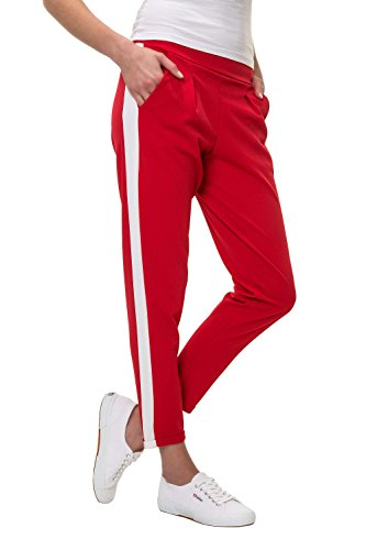Hachiro Damen Freizeithose Jogginghose Hose Sportswear Style (XXL, Red/White Stripe)