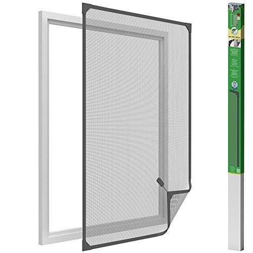 Easy Life Insektenschutz Fenster mit leicht montierbaren PVC Magnetrahmen Fliegengitter ohne Bohren individuell kürzbares Fliegennetz, Farbe:Anthrazit, Größe:120 x 140 cm