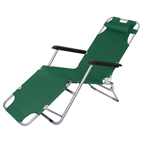 Jalano Gartenliege Liegestuhl Faltbar Kissen Campingstuhl klappbar, Farbe:grün