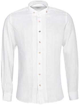 Almsach Trachtenhemd Slim Fit Alexander in Weiß Leinenhemd