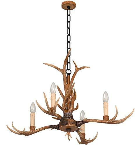 EFFORTINC  Vintage Chandelier corne de cerf en résine 4 Lumières, lustres campagne bois de cervidé rurales, salle d'étude / bureau, Salle à manger, Chambre, Salon Chandelier