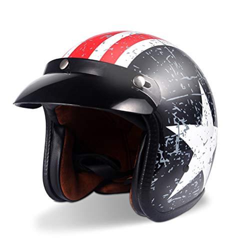 Adulto retrò Harely off road moto casco mezza faccia moto Caschi con visiera American Captain stile moto motocross racing Caps 2XL