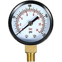 KKmoon 0~200psi 0~14bar Medidor de presión mecánica de doble escala Filtro de piscina Medidor de presión de aire de agua de acuario Medidor 1/8 pulgadas NPT Montaje inferior