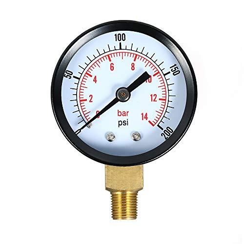 Festnight 0~200psi 0~14bar Dual Skala Mechanische Druckanzeige Pool Filter Aquarium Wasser Luftdruckanzeige Meter 1/8 zoll NPT Bottom Mount -