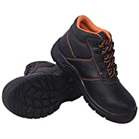 BIGTO Safety Shoes Leather Durable Comfortable Non-Slip Work Shoes for Construction Industrial (11.5 UK, High Ankle)