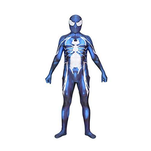 ASJUNQ Venom Spider All Inclusive Strumpfhosen Cosplay Kostüm Spider-Man Kostüm Erwachsene Partykleid Klassisches Kostüm,Blue-XXXL