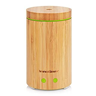 InnoGear Real Bamboo Essential Oil Diffuser 160ml Ultrasonic Aromatherapy Diffusers Cool Mist Humidifier with 7 LED Colorful Lights and Waterless Auto Shut-off