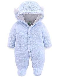 d3f70e6e9 JiAmy Bebé Traje de Nieve Ropa de Invierno Mameluco con Capucha Niñas Niños  Fleece Pelele Manga