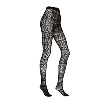 Silky Textures Winter Lace Tights - Black