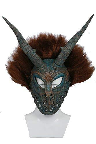 Halloween Erik Killmonger Maske Deluxe Helm mit brauner Perücke Horn Cosplay Zubehör für Erwachsene Kostüm Merchandise 2018