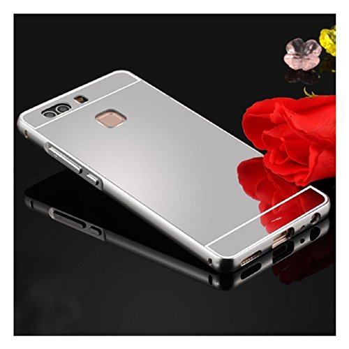 Sliver : For HUAWEI P9 Phoen Shell,Malloom Aluminium Metal Bumper Case+ PC Acrylic Back Cover (Sliver )