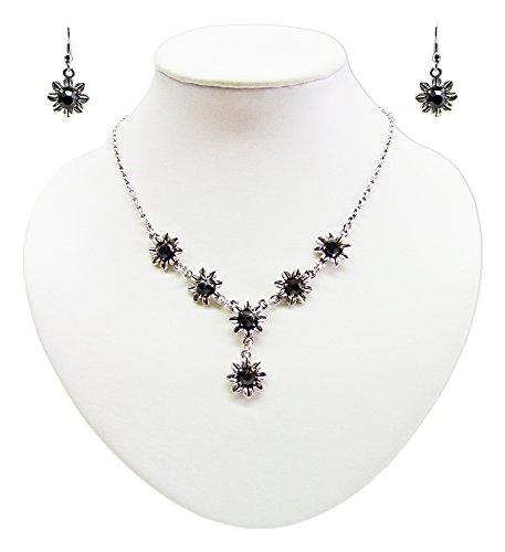 Blumen Collier mit Ohrhängern Schwarz - Zauberhafte Schmuck Sets bestehend aus Halskette und Ohrringen
