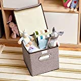 VelVeeta Storage Bins Linen Fabric Foldable Basket Cubes Organizer Boxes Containers Drawers with Lid - Gray For Office Nursery Bedroom Shelf(SET OF 2) - Brown Color