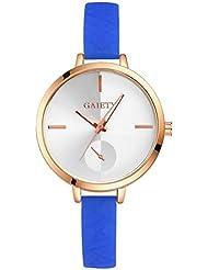 Rcool - Las mujeres de la moda de números romanos cuero de imitación analogico cuarzo Muñequeras de reloj de pulsera (Azul)