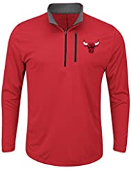 """Chicago Bulls Majestic NBA Men's """"Exclamation"""" 1/2 Zip Pullover Wind Shirt Chemise"""