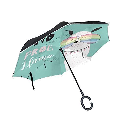 MyDaily Doppelschichtiger Invertierter Regenschirm Auto Rückwärtsschirm süß Alpaka Lama Winddicht UV-beständig Reise Outdoor Regenschirm