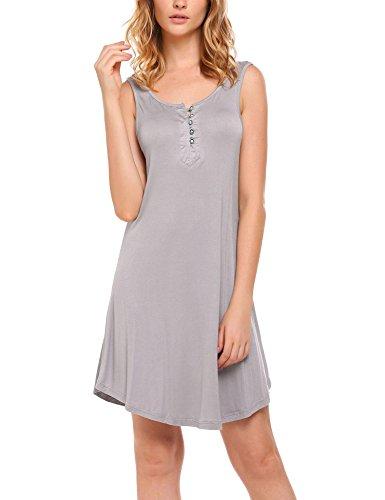 Ekouaer Damen Nachthemd Tank Nachtkleid Sleepshirt mit Knopfleiste Träger Ohne Arm (Baumwolle-tank-nachthemd)