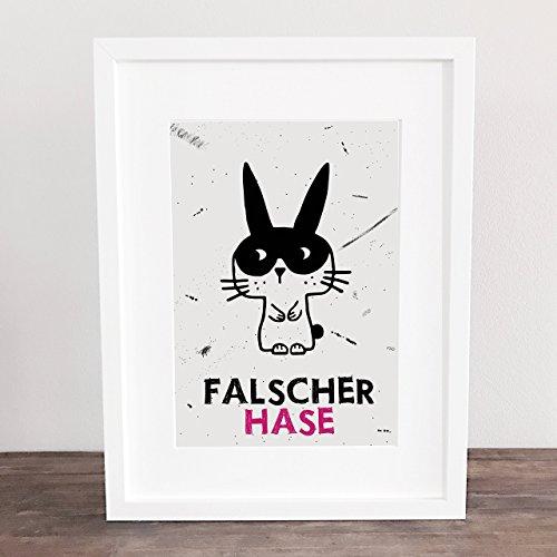 Bild, Poster, DIN A4, DIN A3, Kunstdruck, Art, Deko, Geschenkidee, Bunny, falscher Hase, Maske, Küchenbild, Sprüche, handgezeichnet,