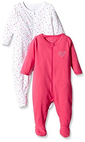 NAME IT Baby-Mädchen Schlafstrampler NITNIGHTSUIT ZIP W/F NB G NOOS, 2er Pack, Gr. 74, Mehrfarbig (Rouge Red)