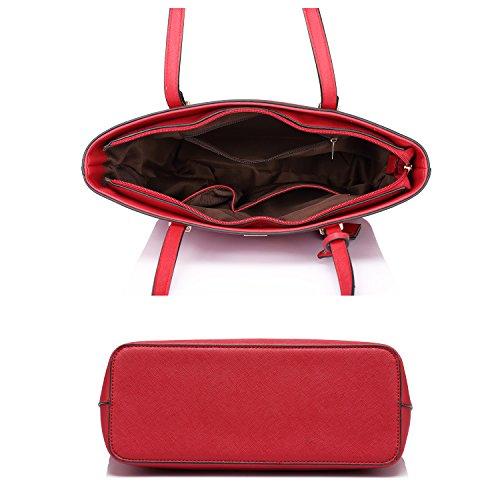 Borse per le donne spalla borse borsa portatile borse a cartella hobo 3pcs borsa set Vino rosso