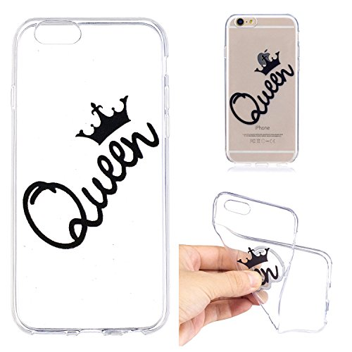 Chiaro Custodia pour iPhone 6S,Transparent Cover pour iPhone 6,Leeook Creativo Carina Divertente Sottile Crystal Clear TPU Gel Silicone Custodia Libro Pigro Gatto Design Morbida Flessibile Cristallo C Queen Corona