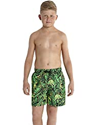 Speedo Leisure–Bañador para niño, Niño, color Jungle Camo Noir/Vert Fluo/Jaune Fluo, tamaño medium