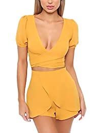 Donne Bluse Manica Corta V Scollo Strappy Crop Top Moda Casual Giovane  Grazioso Puro Colore Irregular Elegante… 64aef18e5e9