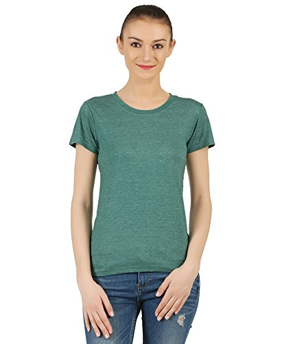 T-Shirt.ind.in Casual FINE Womens Forest Green Melange Round Neck T-Shirt  available at amazon for Rs.170