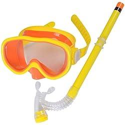 ARAUS Enfants Masque et Tuba Plongée Snorkeling Lunettes de Natation Flotteurs de Tuba Secs 3-12 Ans (Orange)