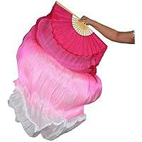 Danza Del Vientre Real Fan De Seda Costillas De Bambú Hecho A Mano Etapa Rendimiento Profesional Elástico Vibrante Rosa Blanco 1.8 M Largo L + R,L+R(1.8M)