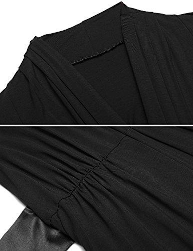 Damen V ausschnitt Morgenmantel Kimono Nachtwäsche baumwolle Bademantel kurz Saunamantel Schlafanzug mit Satin Gurtel Schwarz