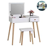 Joolihome White Dressing Table Makeup Vanity Table Set with Stool Drawers and Oval Mirror Bedroom Vanity