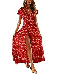 e3029f38bfa Cindeyar Été Bohème Robe Longue Femme Deep V à Manche Courte Vintage Imprimé  Floral Maxi Robe