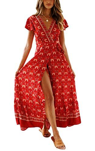 Cindeyar Kleider Boho Sommerkleid V-Ausschnitt Damen Vintage Strand Blumen Maxikleid Kurzarm Strandkleid Lang mit Schlitz (Large, Weinrot-1)