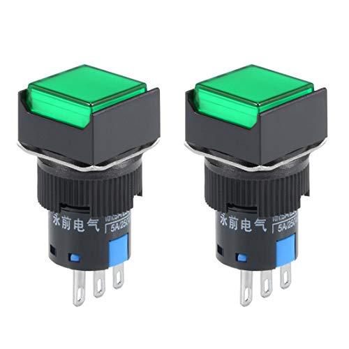 ZCHXD 2 pcs 16mm Latching Push Button Switch Green Square Button 1 NO 1 NC -