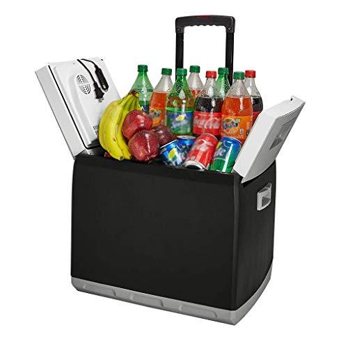 CZBXO 44L Elektro-Reisekühler und -wärmer - Tragbarer Kühlschrank mit Wechselstrom- und Gleichstrom-Netzkabeln für Zuhause, Auto und Camping - Ausziehbarer Griff und Roller