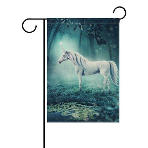 Weiß Einhorn in Forest langlebiges Polyester Welcome Flagge Home Flagge 30,5x 45,7cm 71,1x 101,6cm, Polyester, 12x18(in) ()