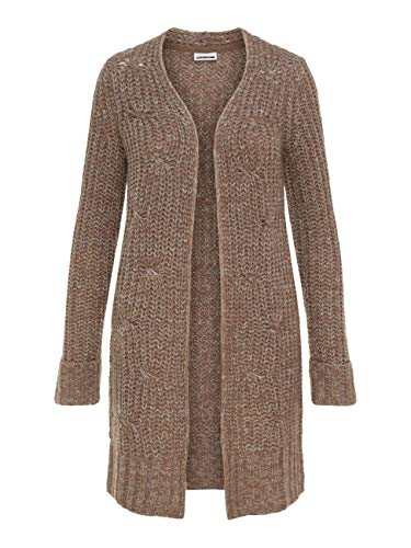 Noisy may Damen Strickjacke NMSUZU L/S Cable Knit Cardigan, Größe:M, Farbe:Taupe Gray (27002454) -